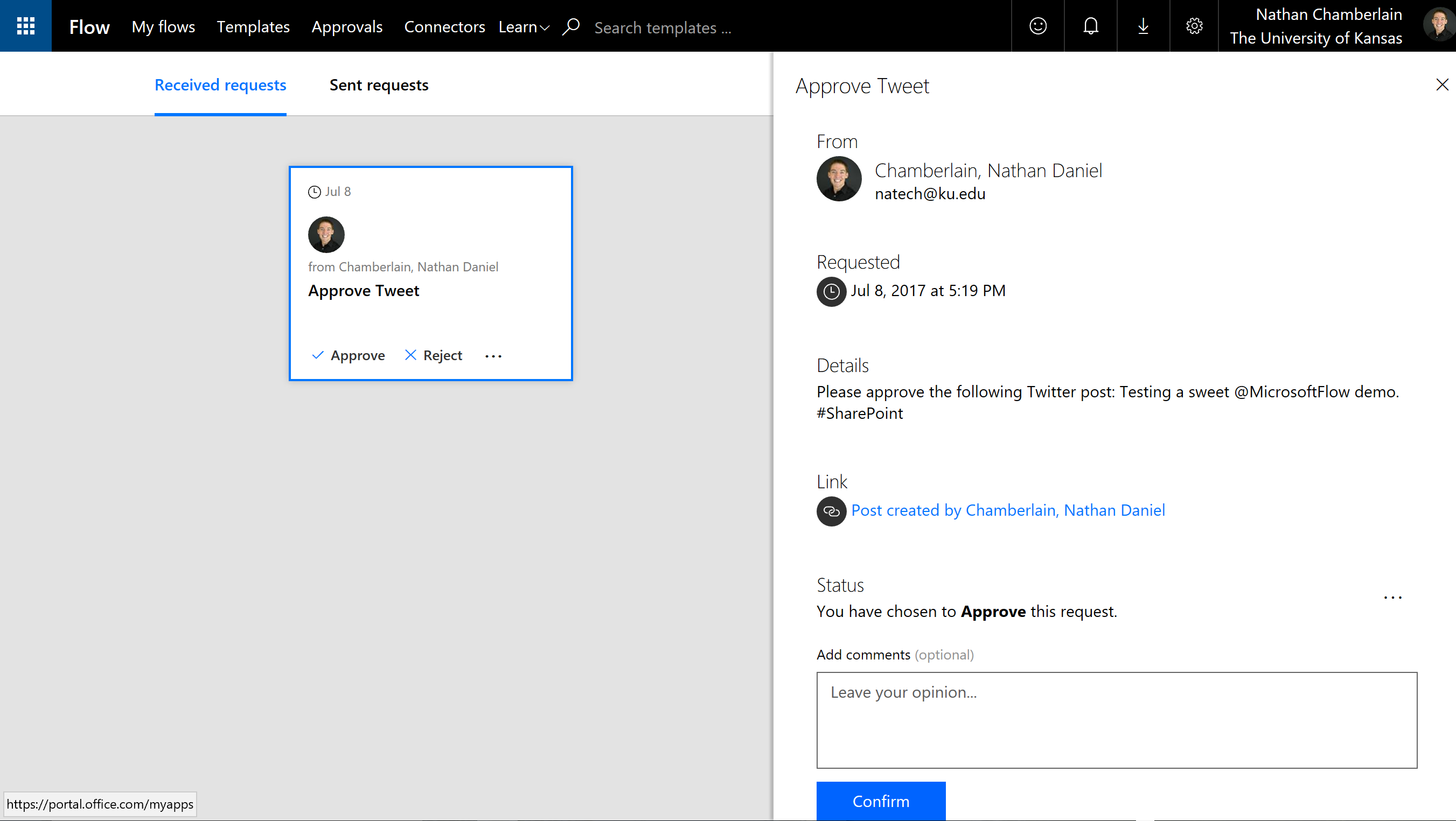 Microsoft Flow approval of Twitter tweet and Facebook post