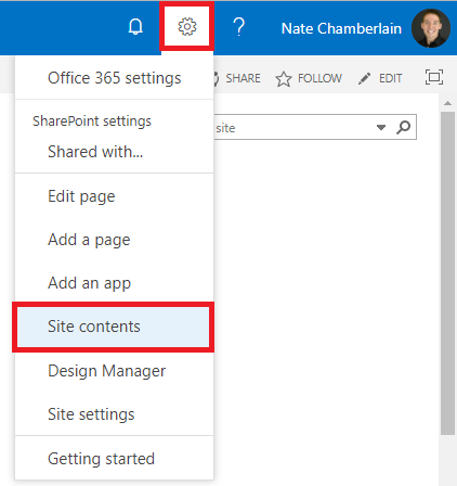 o365 site contents