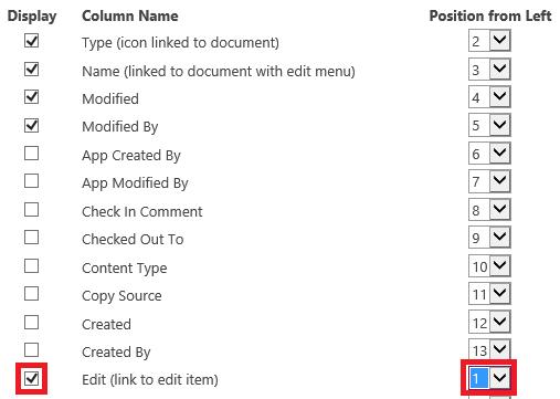 edit column