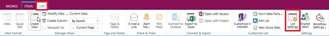 list settings