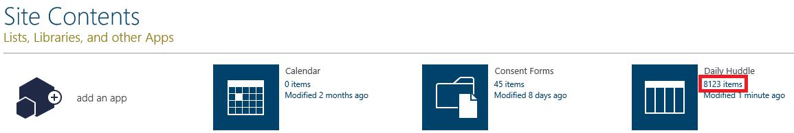 site contents item count