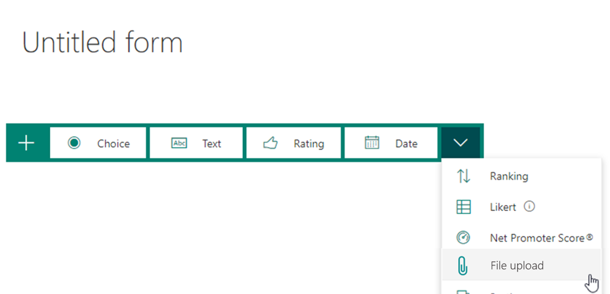 Demonstration of concept; a file upload option on question type dropdown.